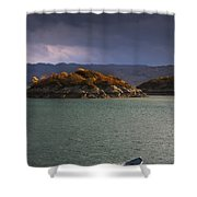Boat On Loch Sunart, Scotland Shower Curtain