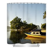 Boat On Sandy Beach Shower Curtain