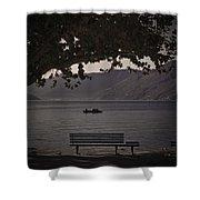 boat on the Lago Maggiore Shower Curtain