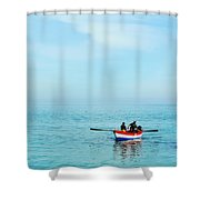 Boat On The Mediterranean Sea Shower Curtain