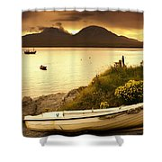 Boat On The Shore At Sunset, Island Of Shower Curtain