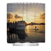 Boat Plastic Sunset  Shower Curtain