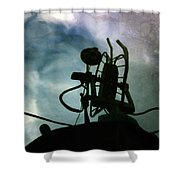 Boat Reflections In Oily Sea Shower Curtain
