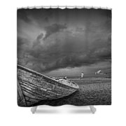 Boat Stranded On A Beach Covered By Menacing Storm Clouds Shower Curtain