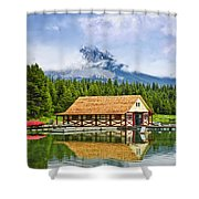 Boathouse On Mountain Lake Shower Curtain