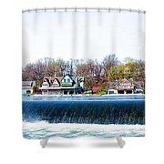 Boathouse Row From Fairmount Dam Shower Curtain