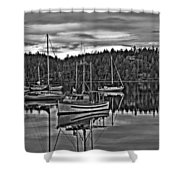 Boating Reflections Mono Shower Curtain