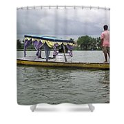 Boatman Taking A Couple Out On A Shikhara Shower Curtain