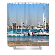 Boats And Blue Water Shower Curtain