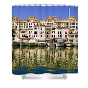 Boats And Houses On Waterfront Shower Curtain