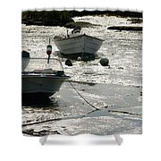 boats at low tide in Cape Cod Shower Curtain