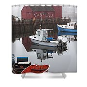 Boats At Rockport Harbor Shower Curtain