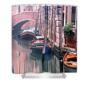 Boats Bridge And Reflections In A Venice Canal Shower Curtain