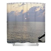 Boats Coming To A Rest For The Day At Sunset In The Lakshadweep Islands Shower Curtain