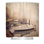 Boats In Foggy Harbor Shower Curtain