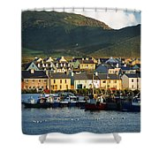 Boats In Harbor By Waterfront Village Shower Curtain