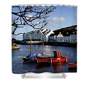 Boats Moored At A Riverbank With Shower Curtain
