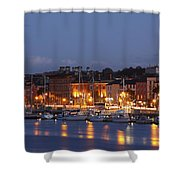 Boats Moored On River Suir At City Shower Curtain