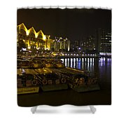 Boats Moored To The Side At Clarke Quay In Singapore Shower Curtain