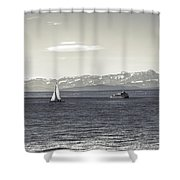 boats on Lake Constance Shower Curtain