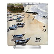 Boats On The Beach Shower Curtain by Lucy Willis