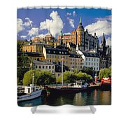Boats On Waterfront Shower Curtain