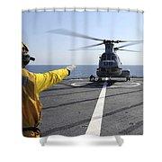 Boatswain's Mate Directs A Ch-46 Sea Shower Curtain