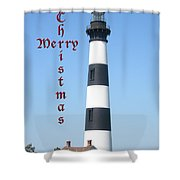 Bodie Lighthouse - Outer Banks - Christmas Card Shower Curtain