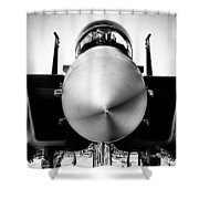 Boeing F-15sg Eagle Black And White Shower Curtain