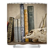 Bone Collector Library Shower Curtain by Heather Applegate