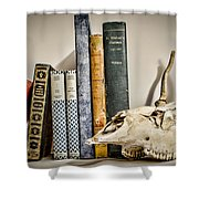 Books And Bones Shower Curtain by Heather Applegate