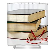 Books And Glasses Shower Curtain