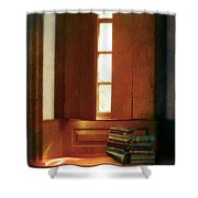 Books On A Window Seat Shower Curtain