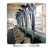 Boots, Rifles, Dog Tags, And Protective Shower Curtain