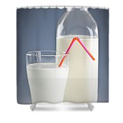 Bottle And Glass Of Milk Shower Curtain