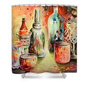 Bottles And Glasses And Mugs 03 Shower Curtain