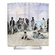 Boudin: Beach Scene, 1869 Shower Curtain