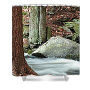 Boulder And Stream Shower Curtain