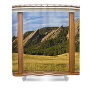 Boulder Colorado Flatirons Window Scenic View Shower Curtain