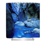 Boulder Filled River At Bottom Of Canyon Shower Curtain