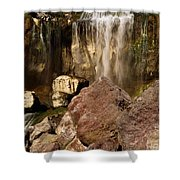 Boulders Under The Falls Shower Curtain