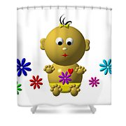 Bouncing Baby Girl With 7 Flowers Shower Curtain