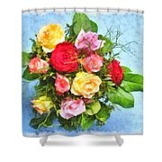 Bouquet Of Colorful Flowers - Digital Watercolor Painting Shower Curtain