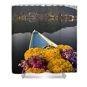 Bouquet Of Flowers In Bow Of Boat Dal Shower Curtain