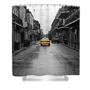 Bourbon Street Taxi Cab French Quarter New Orleans Color Splash Black And White Shower Curtain
