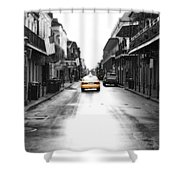 Bourbon Street Taxi French Quarter New Orleans Color Splash Black And White Diffuse Glow Digital Art Shower Curtain