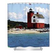Round Island Light House Michigan Shower Curtain