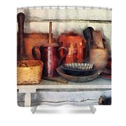 Bowls Basket And Wooden Spoons Shower Curtain