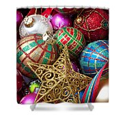 Box Of Christmas Ornaments With Star Shower Curtain