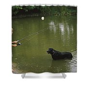 Boy Fishing In A Pond With A Black Shower Curtain